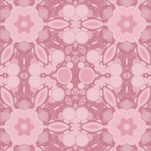 Stylized Pink Flowers with Bubbles
