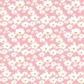 Sweet daisies in vintage pink and mustard yellow - tiny