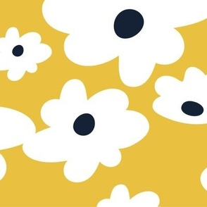 Sweet daisies in mustard yellow - BIG