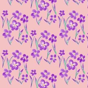 Dainty Meadow Flowers on Dusty Pink Fields - Small Scale