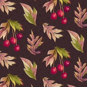 Autumn Splendour - Leaves and Berries - Brown