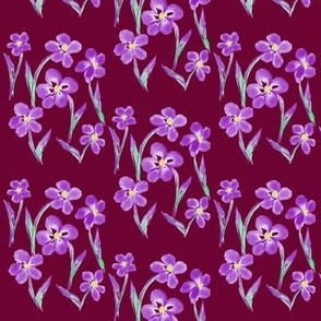 Dainty Meadow Flowers on Fields of Dark Plum