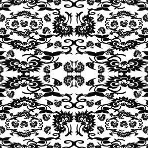 Black and White Colonial & Victorian Flowers Fabric 6