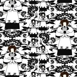 Ursula Black and White Colonial Lady & Flowers Fabric 4