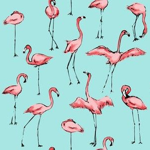 Flamingos Just Want to Have Fun in Teal