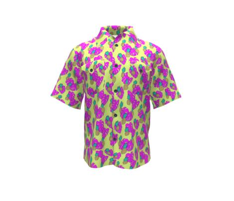 Pineapples and Pink Monstera on Yellow Hawaiian Shirt Print