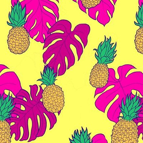 Pineapples and Pink Monstera on Yellow Hawaiian Shirt Print