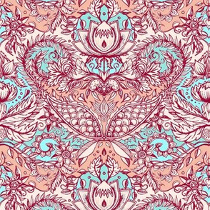 Detailed Decorative Art Nouveau Doodle in peach, aqua, red