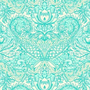 Detailed Decorative Art Nouveau Doodle in mint green