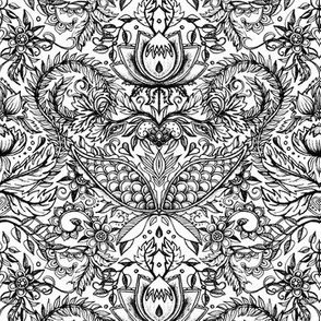 Detailed Decorative Art Nouveau Doodle in black and white