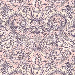 Detailed Decorative Art Nouveau Doodle in soft peach pink and mauve