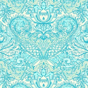 Detailed Decorative Art Nouveau Doodle in turquoise and cream