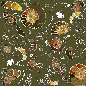 Limestone extra ammonites in army green MEDIUM