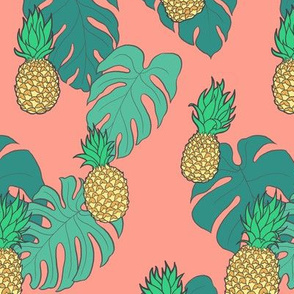 Pineapples and Monstera Leaves on Coral