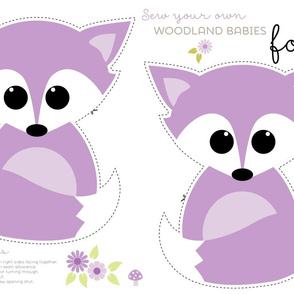 Sew your own baby fox - 2 fronts in purple