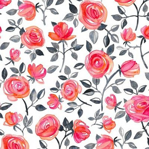 Roses on White - a watercolor floral pattern - small