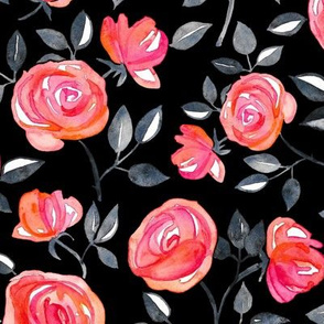 Roses on Black - a watercolor floral pattern - large
