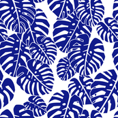 monstera leaves - indigo