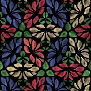 Soft Diamond Leaf Flowers on Black
