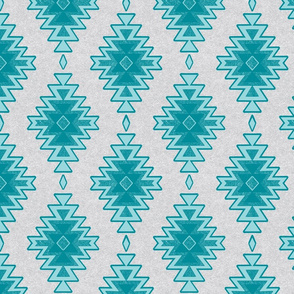 Sandy Kilim - Sky - Teal Blue and Grey