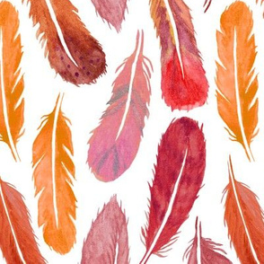 Watercolour Feather Drop - Autumn