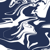 Navy Blue and White Marble Marbled Fabric