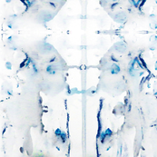 Blues Grays Grey White ink splotch watercolor painted fabric wallpaper