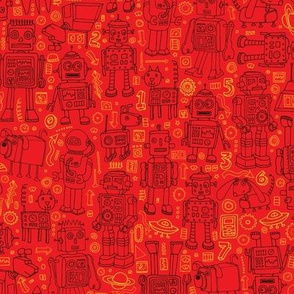 Robot Pattern - Red