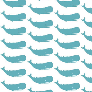 Whale Medium sea blue on white