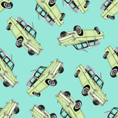 Pastel Green Cars