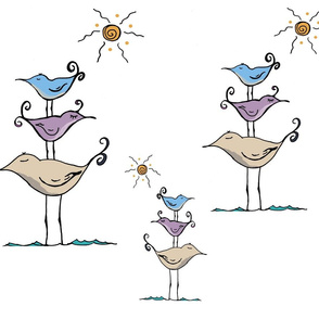 Seashore Birds Family on White