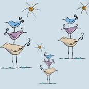 Seashore Birds Family on Blue