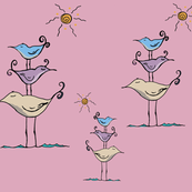 Seashore Birds Family on Pink