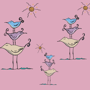 Seashore Birds Family on Pink