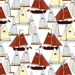 sailing boats on white