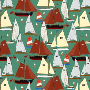 sailing regatta on green