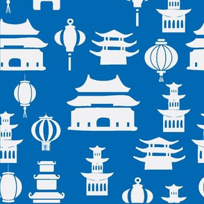 blue and white pagodas and lanterns