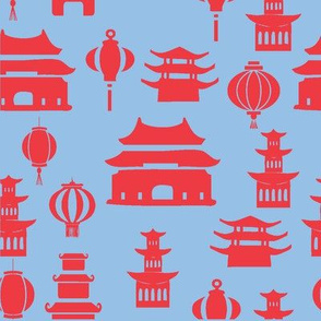 Red and Blue Pagodas