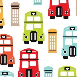 Colorful retro London bus UK great britain pattern LARGE