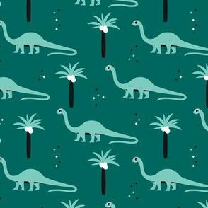 Sweet dinosaurs and palm trees scandinavian style kids fabric green mint