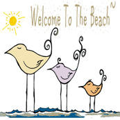 Welcome To The Beach Sandpipers on white