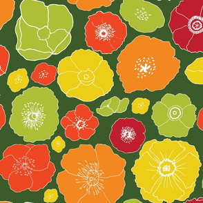 Giant Retro Handdrawn Florals