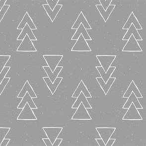 drawn triple triangle arrow - gray