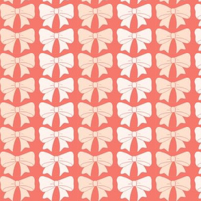 Big Bows, in Soft Pink and Blush on a Coral Background
