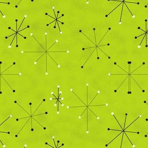 Lime Green Retro Star bursts