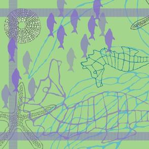 Seahorse Tea Towel in Greens & Purples
