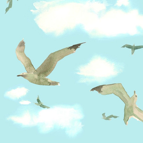 seagulls and clouds