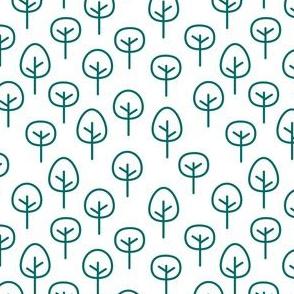 PNW - Trees Emerald on White
