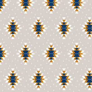 Tribal Diamond Navy Orange