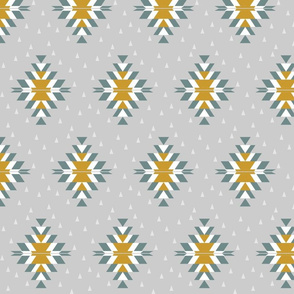 Tribal Diamond Yellow Gray